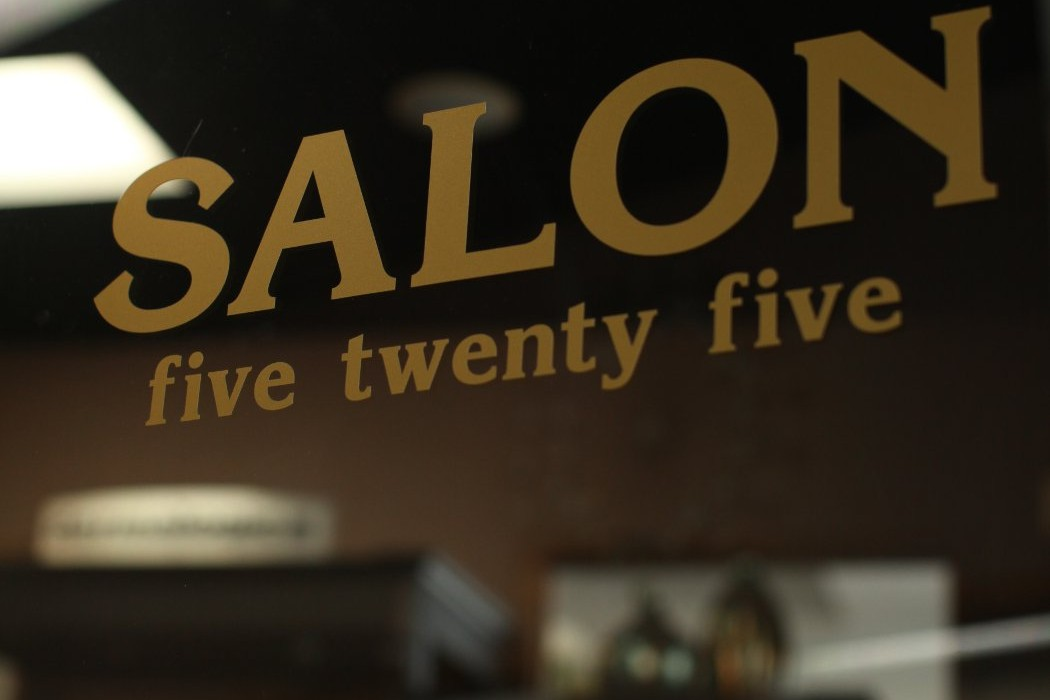 Salon Five Twenty Five in gold letters