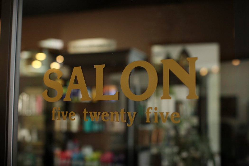 Salon Five Twenty Five in gold letters on the door